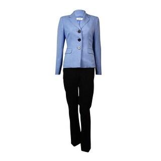 Le Suit Women's Notched Lapel Three Button Woven Pant Suit
