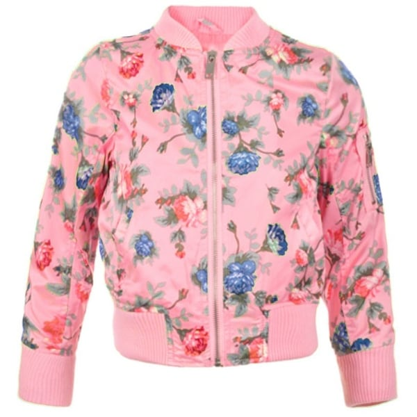 d3ebfac4996 Shop Urban Republic Little Girls Pink Floral Print Silky Flight Zip Jacket  - Free Shipping On Orders Over  45 - Overstock.com - 20768145