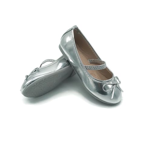 Pipiolo Little Girls Silver Bow Elastic Strap Mary Jane Shoes