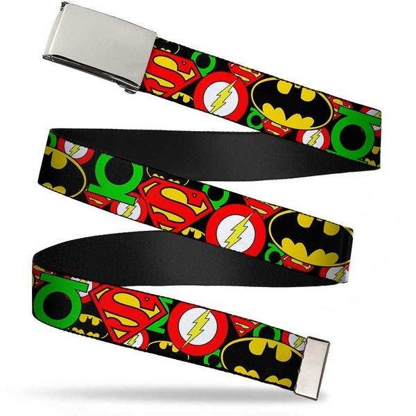 Blank Chrome Buckle Justice League Stacked Logos Webbing Web Belt