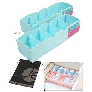 JAVOedge 2 Pack Organizing Plastic Underwear Drawer Divider for Small Clothing, Socks with Bonus Drawstring Bag