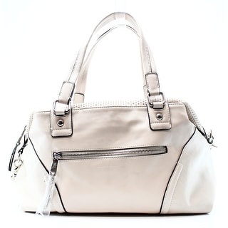 FRENCH CONNECTION NEW White Ivory Pleather Brett Peforated Satchel Bag