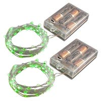 Set of 2 Green Mini String Lights with 50 Lights and Timer - Clear Wire
