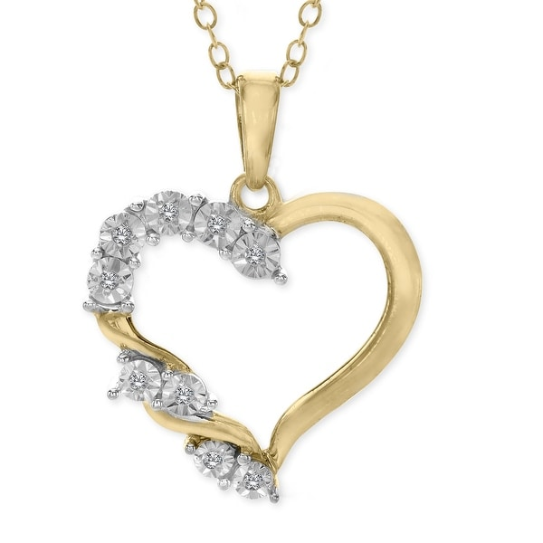 Heart Pendant with Diamonds in 14K Gold-Plated Sterling Silver