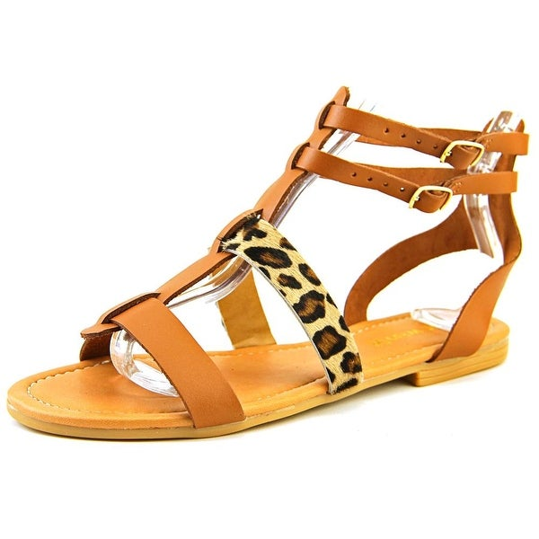 Nine West Bocce Women Open Toe Leather Brown Gladiator Sandal