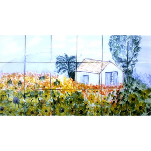 18in x 36in French Country 18pc Mosaic Tile Ceramic Wall Mural