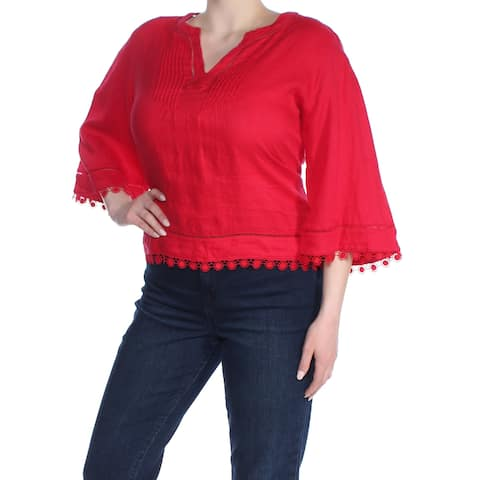 RALPH LAUREN Womens Red Embroidered Bell Sleeve V Neck Top Size: XL