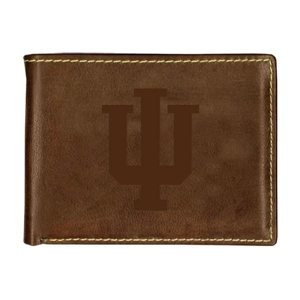 Indiana University Contrast Stitch Bifold Leather Wallet
