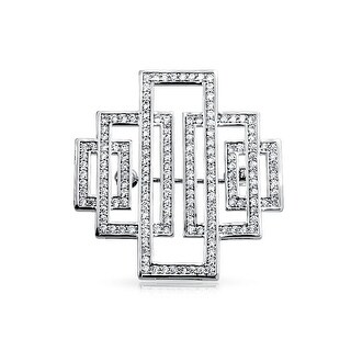 Bling Jewelry Pave CZ Bridal Art Deco Style Pendant Brooch Pin Rhodium Plated