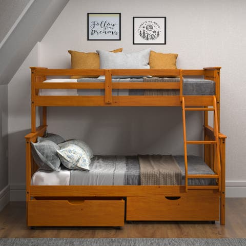 Honey Twin over Full Mission Bunk Bed with Storage Drawers or Trundle