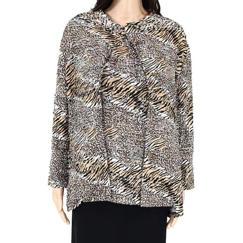 Erin London Womens Jacket Brown Large L Tiered Animal Print Open-Front
