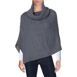 Verloop Womens Poncho Sweater Cable Knit Turtleneck - o/s