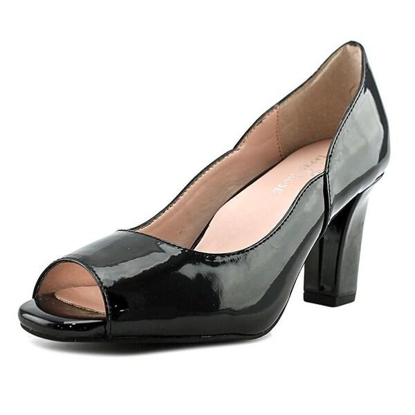 Taryn Rose Womens Francis Peep Toe Classic Pumps, Black, Size 7.5