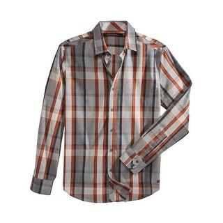Sean John Roadmap Plaid Long Sleeve Casual Shirt Grey and Orange Medium M