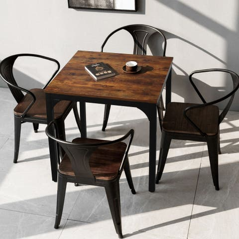 Veikous 27.6inch Square Industrial Kitchen Dining Table for Small Spaces
