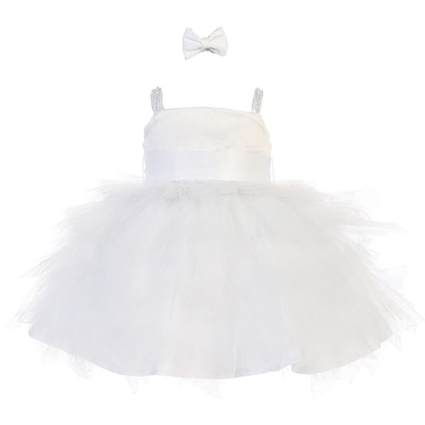 Baby Girls White Satin Rhinestone Strap Tulle Tutu Flower Girl Dress 18M
