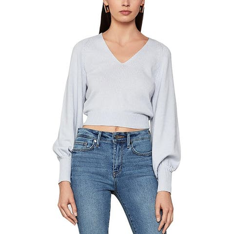 BCBG Max Azria Women's Ribbed Knit Cropped Balloon Sleeve Sweater