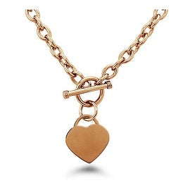 Stainless Steel Heart Tag Toggle Necklace 18 Inches
