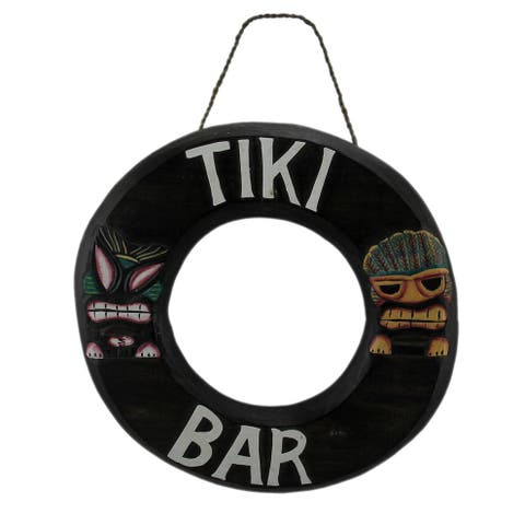 Tropical Island Tiki Bar Wooden Lifering Wall Sign - 15 X 15 X 1 inches