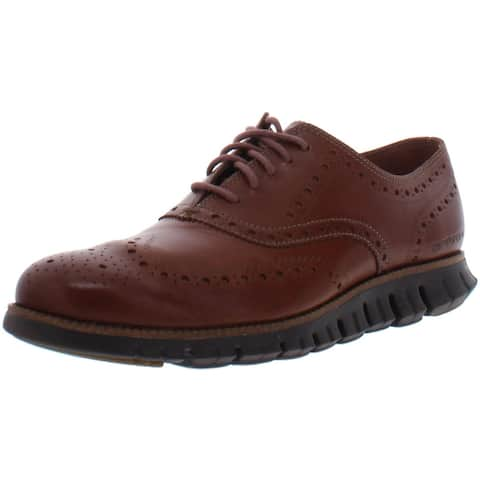 Cole Haan Mens ZeroGrand Oxfords Perforated Lace-Up - British Tan/Java