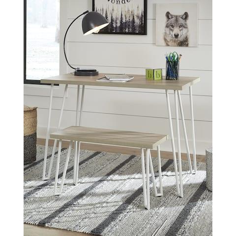 Blariden Brown/White Desk with Bench