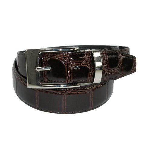 CTM® Leather Croc Print Dress Belt with Clamp On Buckle