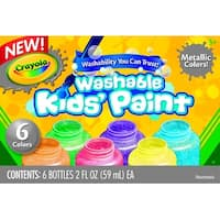 Crayola Washable Washable Kid's Paint Set,  Assorted Metallic, 2 oz, Set of 6