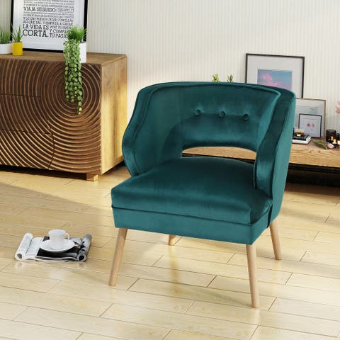 Mariposa Mid Century Velvet Accent Chair by Christopher Knight Home