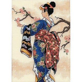 """Gold Petite Mai Counted Cross Stitch Kit-5""""X7"""" 18 Count"""