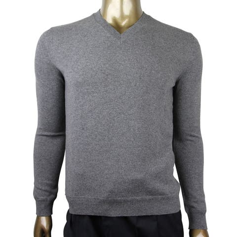 Gucci Men's Gray Cashmere Pullover V-neck with RB Web 372694 1514 (2XL) - 2 XL