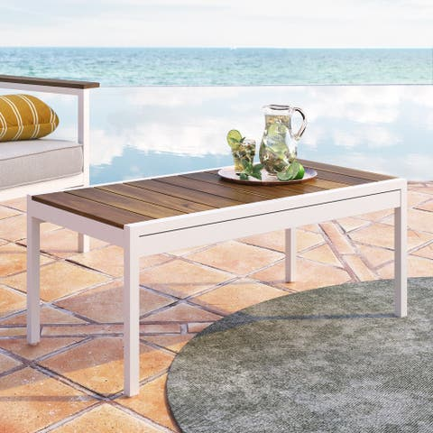 Priage by ZINUS White Aluminum and Acacia Wood Outdoor Table with Waterproof Cover