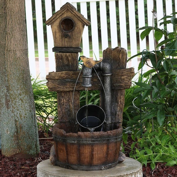 Sunnydaze Bird House Leaking Pipe Outdoor Water Fountain with Light - 29-Inch