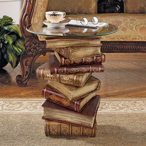 Design Toscano Power of Books Sculptural Glass-Topped Side Table - 16 x 16 x 21