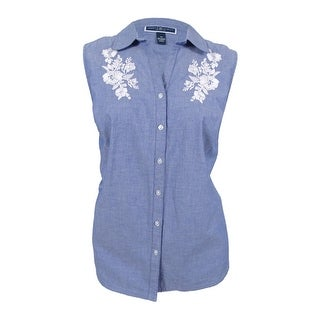 9cac186a9b0 Shop Karen Scott Women s Plus Size Embroidered Chambray Shirt (2X ...