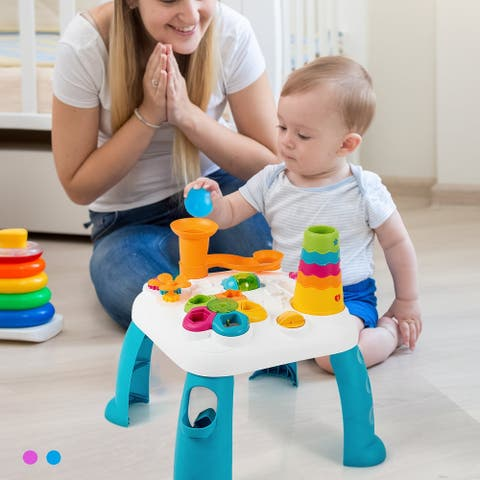 Costway 2 in 1 Learning Table Toddler Activity Center Sit to Stand