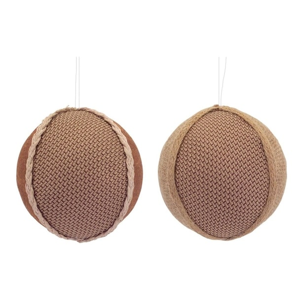 """Club Pack of 12 Brown Burlap and Faux Leather Decorative Christmas Ornaments 3.5"""""""
