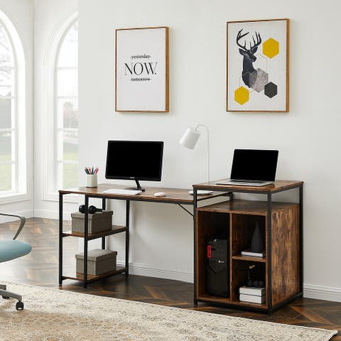 Home Office Computer Desk with Storage Shelf and Writing PC Table