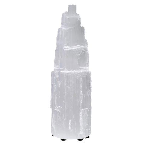 Himalayan Glow Selenite Crystal Lamp with Dimmer Switch ( 7-10 inch ) - White