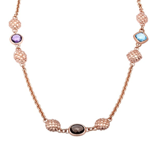 6 1/5 ct Multi-Stone Station Necklace in 18K Rose Gold-Plated Bronze - Brown