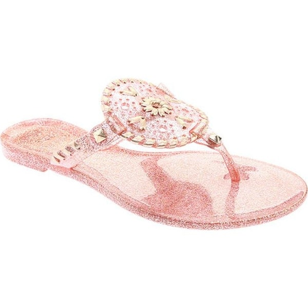 cc41d816b3eb Shop Jack Rogers Women s Georgica Jelly Rose Gold Sparkle - Free ...