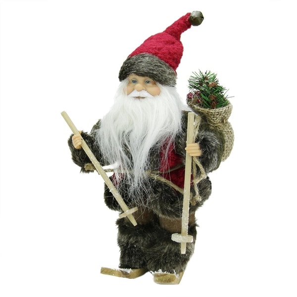 """9"""" Country Rustic Skiing Santa Claus Christmas Figure with Gift Bag - RED"""