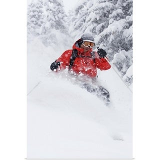 """Man snow skiing"" Poster Print"