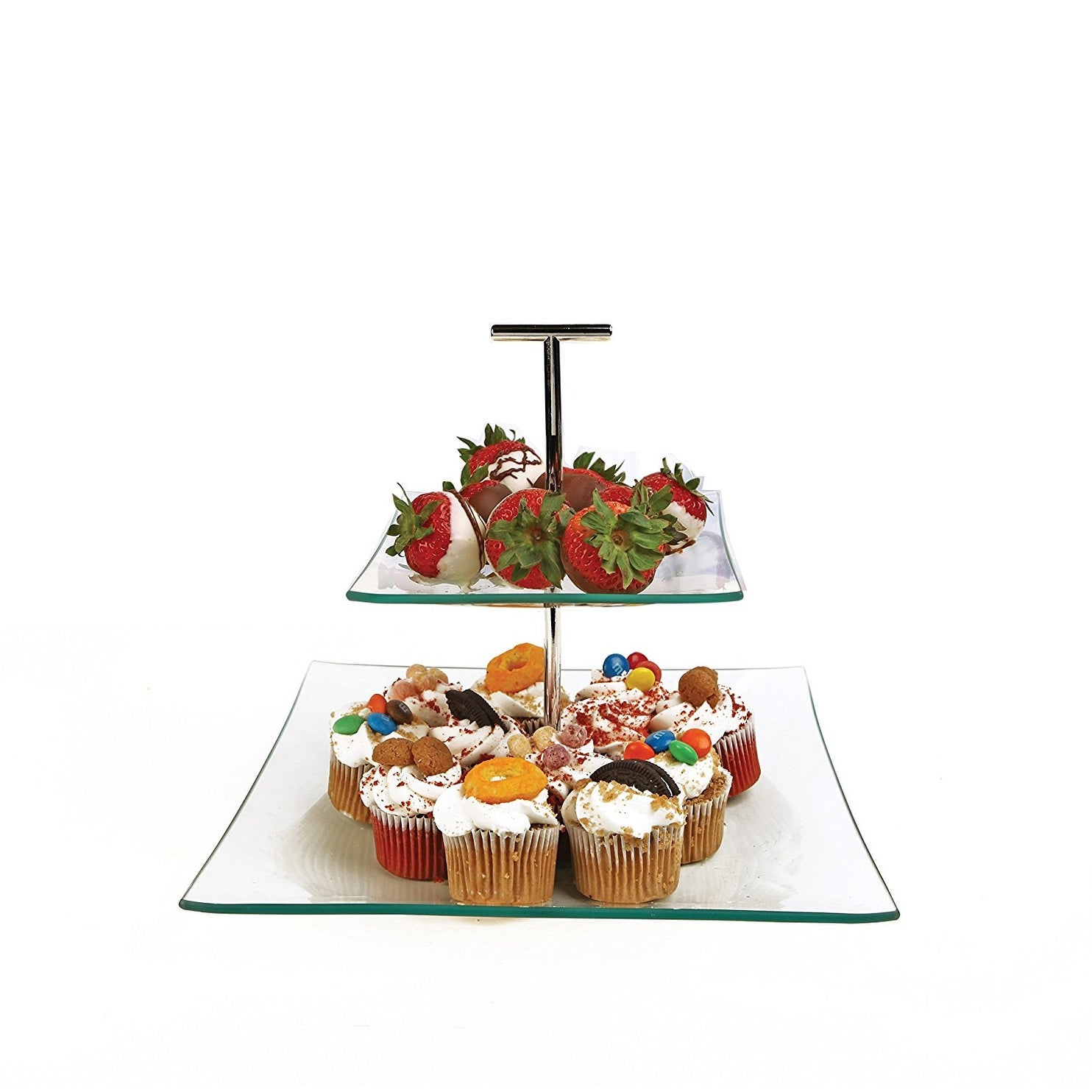 """Palais Glassware® Elegent Glass Cupcake or Cake Stand - Party Centerpiece (10"""", 2 Tier Square) - Thumbnail 0"""