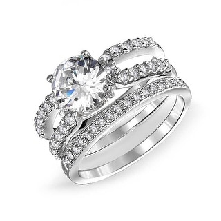Bling Jewelry 925 Silver Round Double Band CZ Engagement Wedding Ring Set