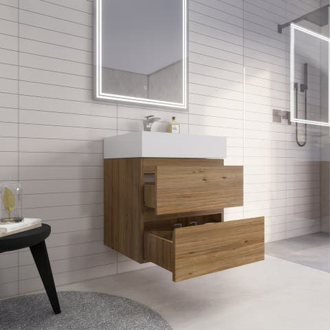 Better Monterey 84'' Double Sink Wall-Mounted Vanity with Reinforced Acrylic Sink