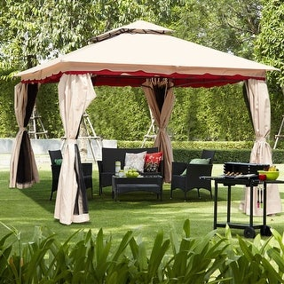 Gymax 13'x10'Outdoor Canopy Gazebo Art Steel Frame Party Patio Canopy Gazebo W/Netting - sand color +black
