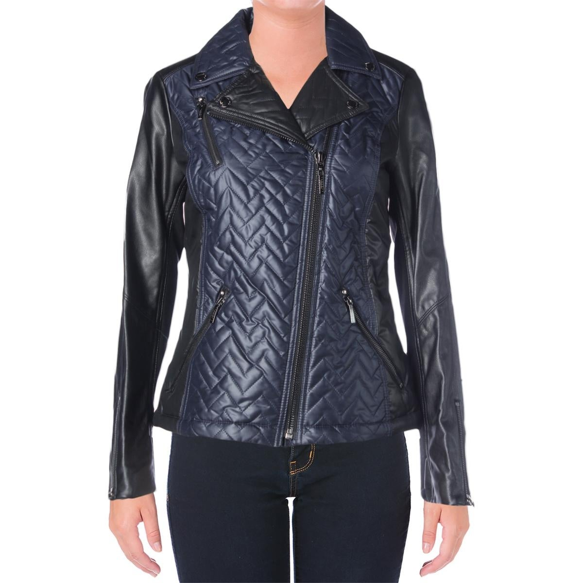 Laundry by Shelli Segal Womens Motorcycle Jacket Faux Leather Trim Zip Front - Thumbnail 6