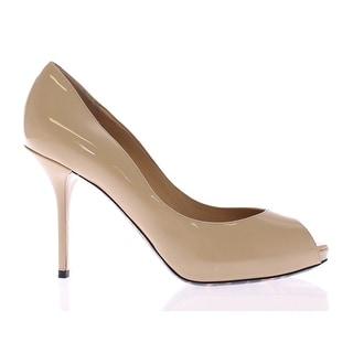 Dolce & Gabbana Beige Patent Leather Open Toe Pumps Shoes - 39.5