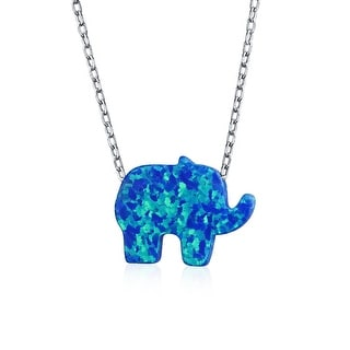 Created Blue Opal Elephant Necklace For Women Pendant 925 Sterling Silver 18 Inch October Birthstone