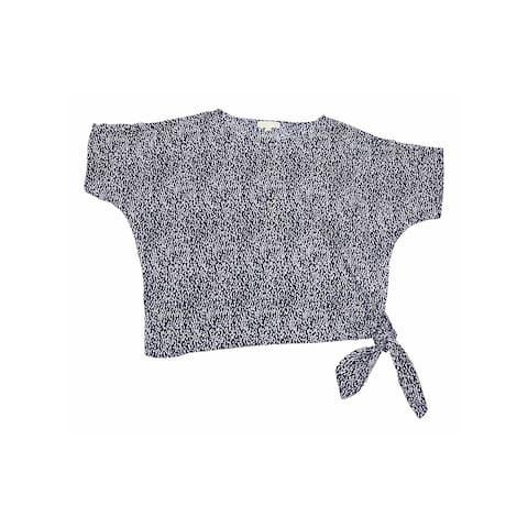 MICHAEL KORS Womens Purple Printed Short Sleeve Top Size XL